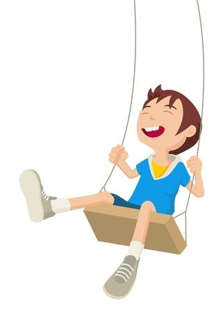 columpio: Ilustración de la historieta de un niño jugando en un columpio