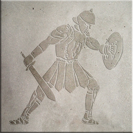 Image of a gladiator carved on concrete wall