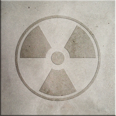 Radiation symbol embossed on concrete photo