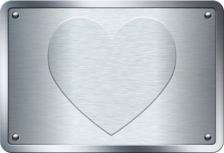 shinning: Heart symbol embossed on metal plate