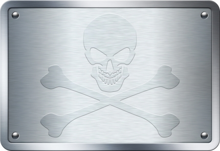 Jolly Roger sign embossed on metal plate Stock Photo - 22961929