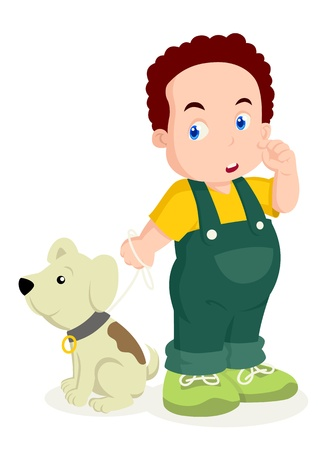 child standing: Cartoon illustration of a boy an his dog