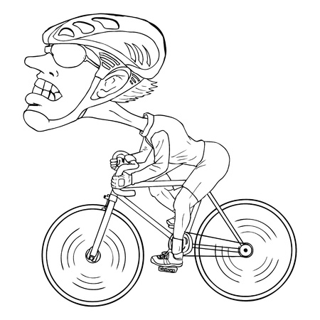 Line-art caricature of a bicycle athlete Illustration
