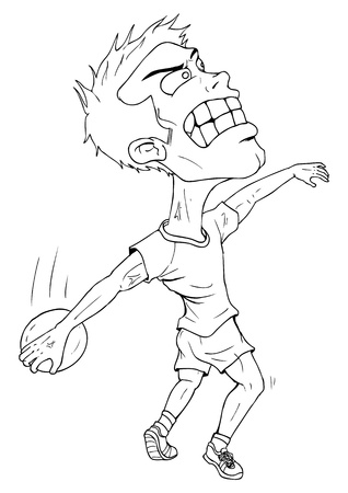 Line-art caricature of a disc thrower Vector