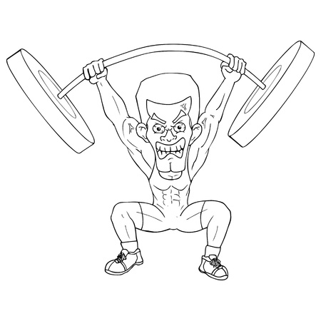 Outline illustration of a weightlifter Vector