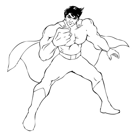 muscly: Outline illustration of a superhero