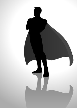 Silhouette illustration of a posing superhero