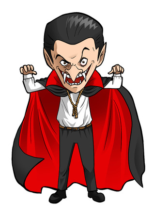 Cartoon illustration of a Dracula illustration