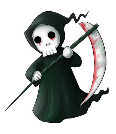 scythe: Cute cartoon grim reaper with scythe isolated on white