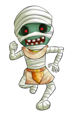 haloween: Cartoon illustration of scary Halloween mummy