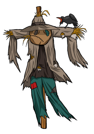 scarecrow: Cartoon illustration of a scarecrow isolated on white Stock Photo