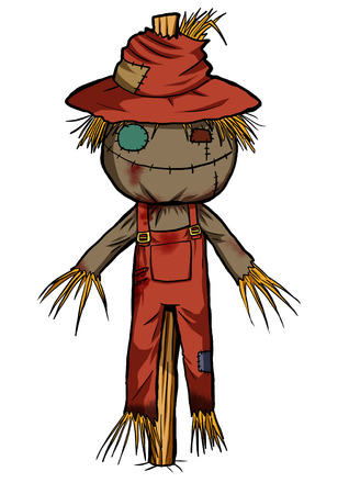 Cartoon illustration of a scarecrow isolated on white illustration