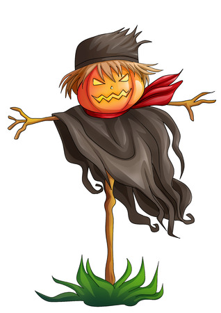 scare: Cartoon illustration of a scarecrow isolated on white Stock Photo