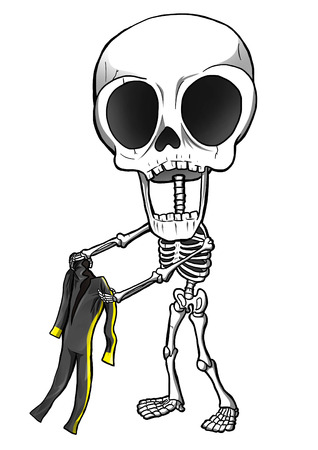Cartoon illustration of a funny skeleton illustration