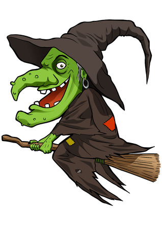 harridan: Cartoon illustration of a witch flying with her broom