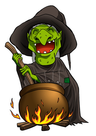 cauldron: Cartoon illustration of a witch stirring concoction in the cauldron