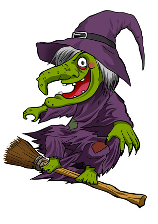 Cartoon illustration of a witch flying with her broom illustration