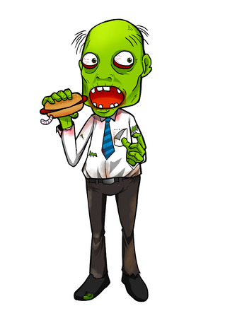 hex: Cartoon illustration of a zombie eating a hotdog