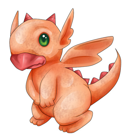 Cartoon illustration of a little dragon illustration