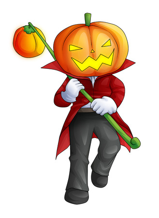 Cartoon illustration of Halloween ghost with pumpkin head illustration
