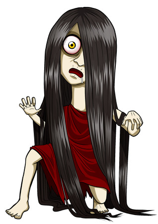 Cartoon illustration of a scary woman figure with long hair Stock Photo
