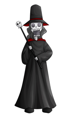 Cartoon illustration of a skeleton holding a wand illustration