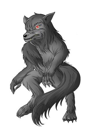 Cartoon illustration of a werewolf illustration