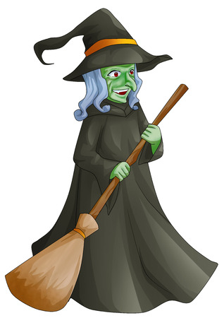 harridan: Cartoon illustration of a witch with her broom