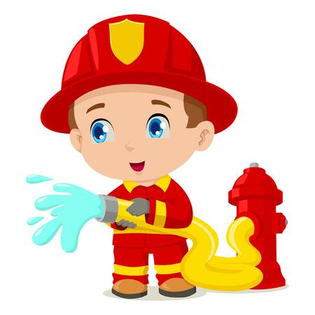 kiddies: Ilustraci�n vectorial de un bombero