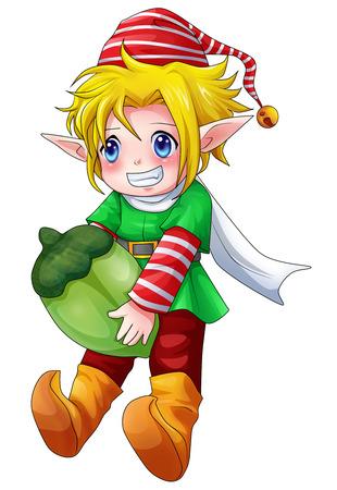 enano: Ilustración de dibujos animados de carácter para Navidad