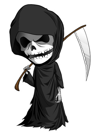 grim: Cartoon illustration of grim reaper with scythe isolated on white