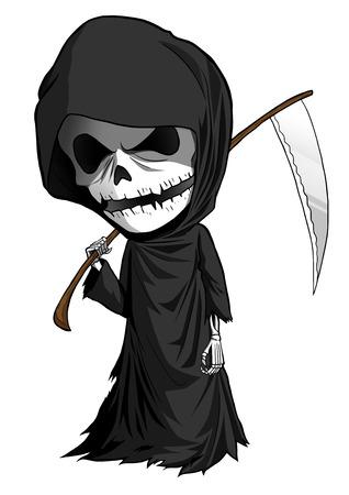 scythe: Ilustraci�n de dibujos animados de parca con la guada�a aislado en blanco Foto de archivo