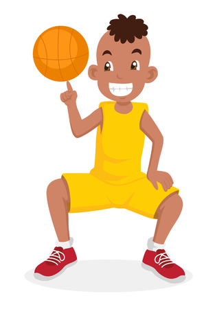 Cartoon illustration of a boy playing basketball Vector