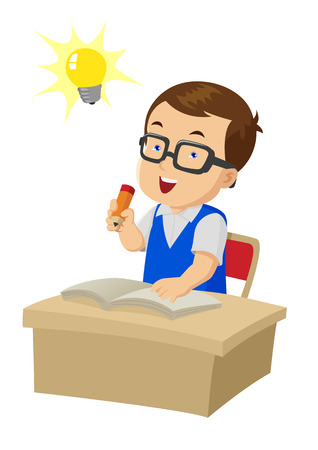Cartoon illustration of a boy were studying Vector