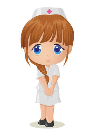 Cute cartoon illustration of a nurse Vector