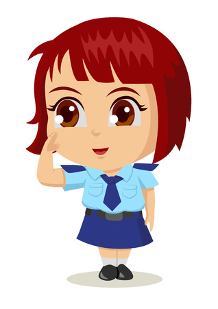 manga style: Cute cartoon illustration of a policewoman Illustration