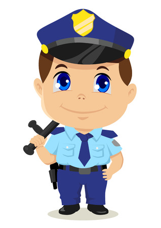 manga style: Cute cartoon illustration of a policeman Illustration