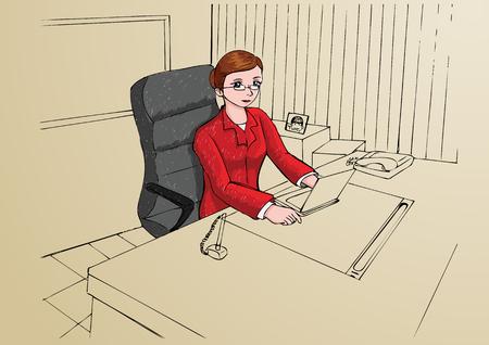 using laptop: Illustrazione di una donna d'affari che lavora con il computer portatile Vettoriali