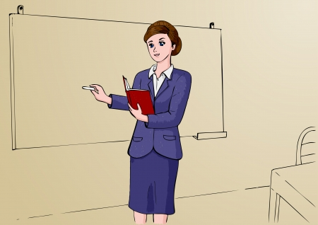 manga style: Illustration of woman as a professional, teacher