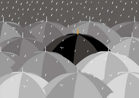 Black among lighter color umbrellas Vector