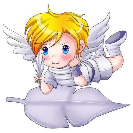 heavenly angels: Cartoon illustration of an angel Stock Photo