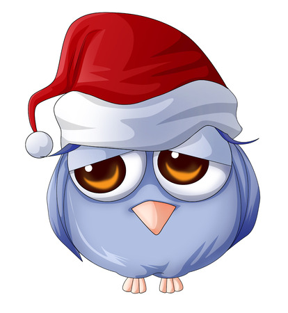 Cartoon illustration of an owl wearing Christmas hat illustration