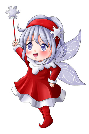 Cartoon illustration of a Christmas pixie illustration