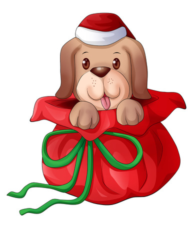 Cartoon illustration of a cute puppy appears from gift wrap illustration