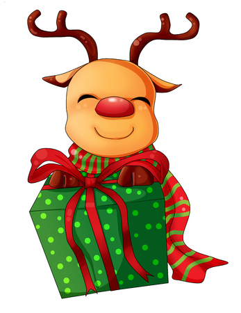 Cartoon illustration of character for Christmas, reindeer illustration