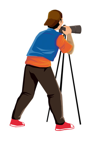 Illustration of a man figure with camera