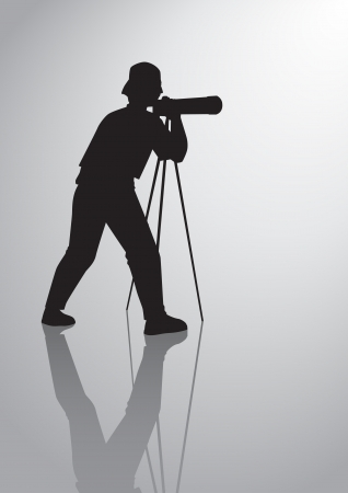 Silhouette illustration of a man figure with camera Vector