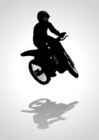 motocross riders: Silhouette illustration of a man riding motocross