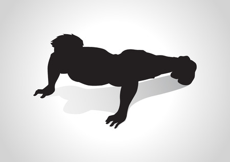 Silhouette illustration of a man figure doing push ups Vector