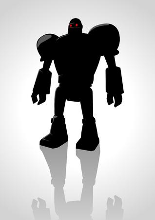 alien robot: Silhouette illustration of a robot Illustration